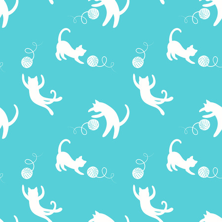 Seamless pattern with cutewhite playing kitten on blue background.