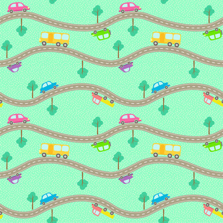 wagon: Vector seamless pattern with cartoon styled roads and cars.