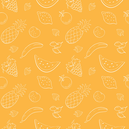 fabric texture: Seamless vector pattern with fruits and berries. White contour on orange background. Illustration