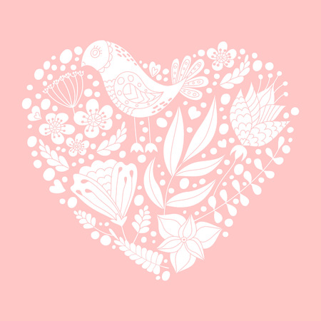 fiance: Doodle bird and floral elements in heart shape. Happy Valentines day greeting card.