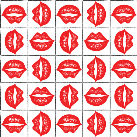 Seamless pattern with red lips.
