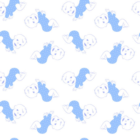 crawling: Vector seamless pattern with cute crawling baby boy. Baby seamless background. Baby textile pattern. Baby wrapping paper pattern. Vector reaping background with crawling babies.