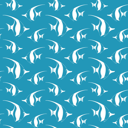 longfin: Seamless pattern with pennant fish.Vector fish pattern. Sea life vector pattern. Vector illustration with sea fish. Monochrome sea fish pattern. Blue and white fish seamless background.