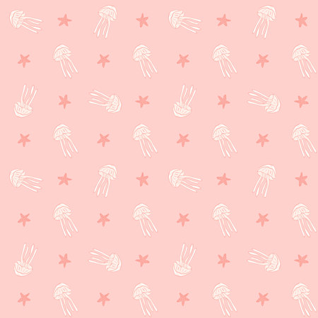 hydrozoa: Jellyfish seamless vector pattern. Jellyfish background. Vector illustration. Sea animal seamless pattern with jellyfish and starfish.Underwater seamless pattern. Childrens textile pattern. Illustration