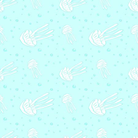 hydrozoa: Jellyfish seamless vector pattern. Jellyfish background. Vector illustration. Sea life background. Sea animal seamless pattern with jellyfish.Underwater seamless pattern. Childrens textile pattern.
