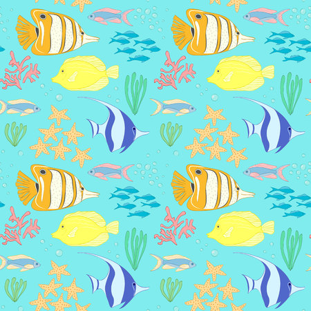 seaweeds: Seamless pattern with sea fish. Seamless vector pattern with sea fishes, corals and seaweeds. Underwater background. Sea life background. Sea animals seamless pattern. Underwater seamless pattern.