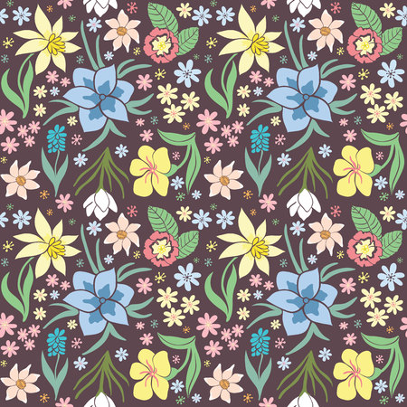 green day baby blue background: Seamless colorful vector pattern with spring flowers.Floral patten. Vector flowers pattern. Colorful floral background. Floral elements. Textile floral pattern. Spring background .. Illustration