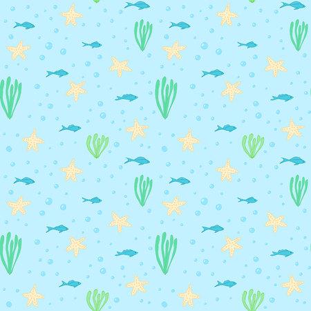 underwater fishes: Underwater seamless pattern. Seamless pattern with underwater elements.Seamless vector pattern with sea fishes, starfihes and seaweeds. Underwater background. Sea life background. Sea animals pattern.