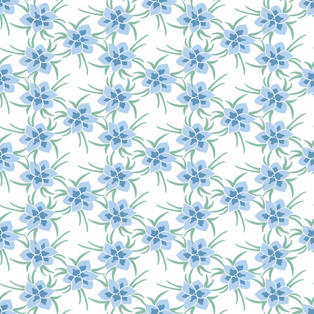 green day baby blue background: Seamless colorful vector pattern with spring flowers.Floral patten. Vector flowers pattern. Colorful floral background. Floral elements. Textile floral pattern. Spring background.