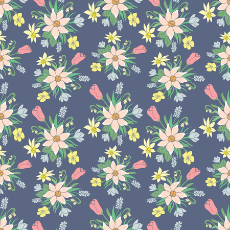 wallpapper: Seamless colorful vector pattern with spring flowers.Floral patten. Vector flowers pattern. Colorful floral background. Floral elements. Textile floral pattern. Spring background. Vector floral print.
