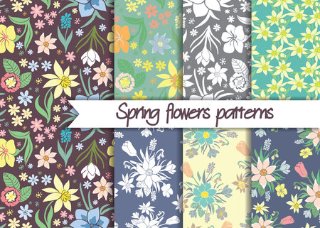 wallpapper: Spring flowers patterns. Set of seamless colorful vector patterns.Floral patterns. Floral seamless vector patterns. Vector floral backgrounds. Set of floral vector seamless textile ornaments.