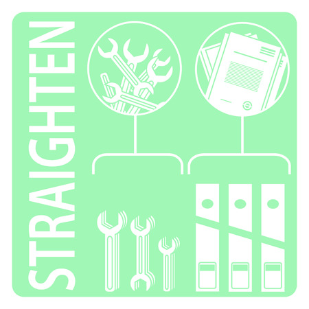5s: Straighten. 5s methodology. Vector Illustratin 5s method.