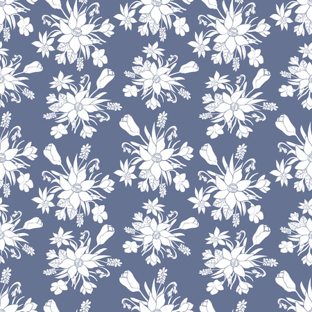 green day baby blue background: Seamless monochrome vector pattern with spring flowers.Floral patten. Vector flowers pattern. Floral background. Floral elements. Textile floral pattern. Spring background. Vector floral print Illustration
