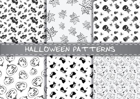 Patrón De Halloween Sin Fisuras, De Estilo Plano. La Textura ...
