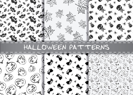 cute wallpaper: Set of halloween vector patterns. Endless monochrome halloween textures for wallpaper, pattern fills, web page,background, surface, textile, scrapbooking.