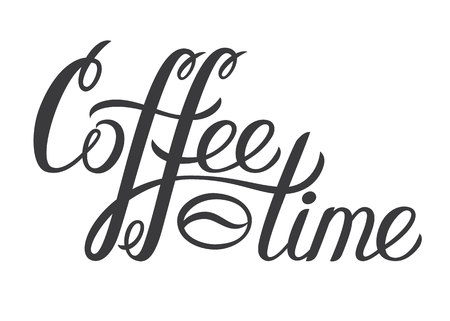 Hand drawn lettering Coffee time. Vector Coffee time decorative inscription for poster. Modern brash calligraphy. Hand written ink letters.