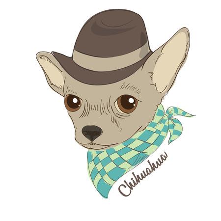 Hand drawn illustration of hipster dog Illustration