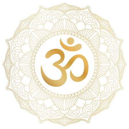 Aum Om Ohm symbol in decorative round mandala ornament. Ilustração