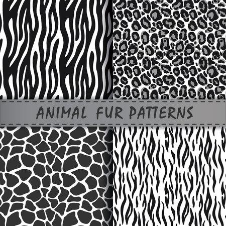 naadloze patronen set met dierlijke huid textuur