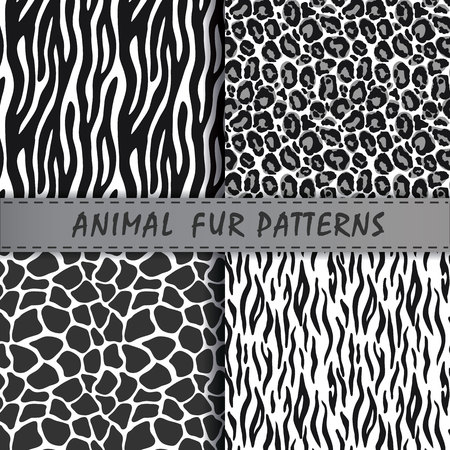seamless patterns set with animal skin texture Stock Vector - 63004343