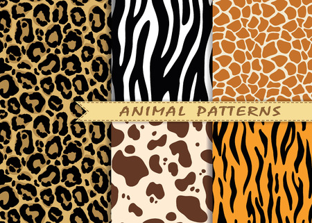 seamless patterns set with animal skin texture