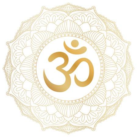 aum: Aum Om Ohm symbol in decorative round mandala ornament. Stock Photo