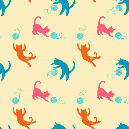 Seamless pattern with cute colored playing cats. Repeating cats background for textile, wrapping paper, wallpaper, scrapbooking. Ilustração
