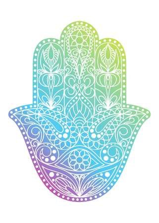 Hand drawn Hamsa symbol.  Hand of Fatima. Ethnic amulet common in Indian, Arabic and Jewish cultures. Colorful Hamsa symbol with eastern floral ornament. Illustration