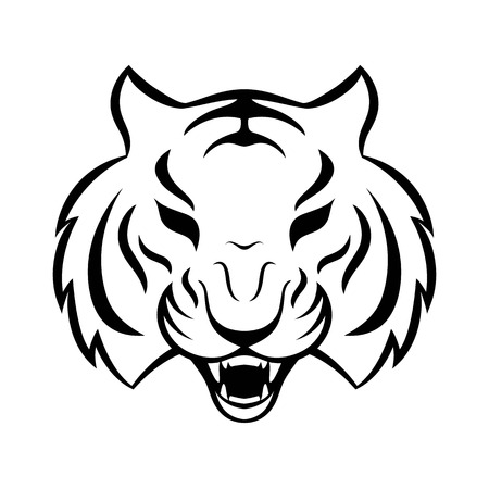 Tiger icon isolated on a white background. Tiger logo template, tattoo design, t-shirt print. Illustration