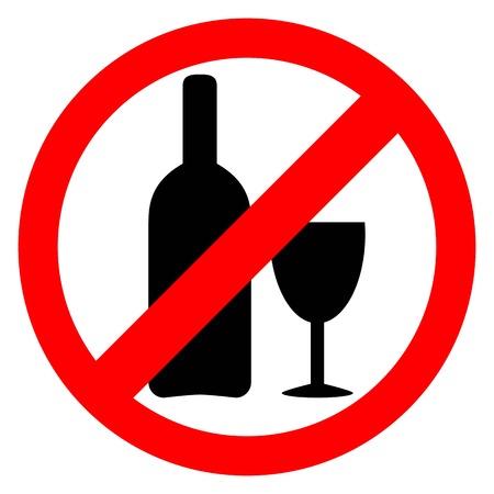 interdiction: Aucun signe d'alcool. Boire de l'alcool est une icône interdite. Illustration