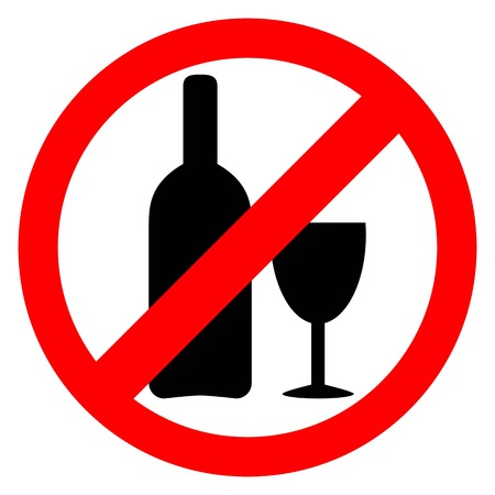 not permitted: No alcohol sign. Drinking alcohol is forbidden icon.