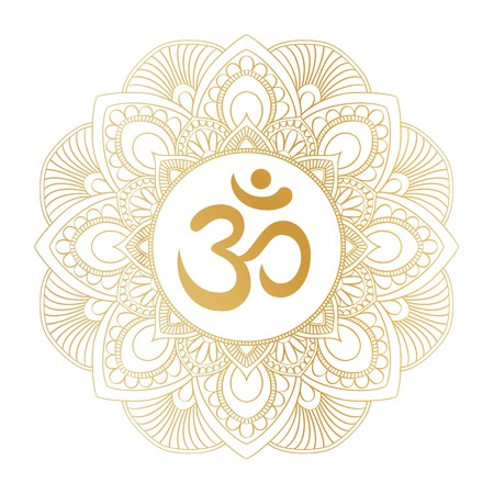 Golden Aum Om Ohm symbol in decorative round mandala ornament, perfect for t- shirt prints, posters, textile design, typography goods. Çizim