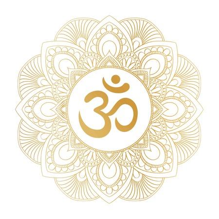 Symbole Golden Aum Om Ohm dans l'ornement décoratif de mandala rond, parfait pour les imprimés de chemises, les affiches, la conception textile, les produits typographiques.