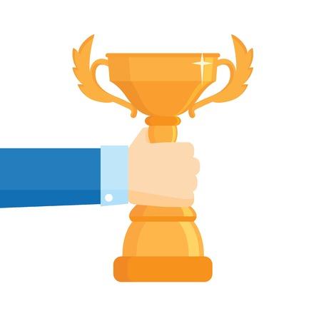 triumphant: Winner award vector illustration. Business goal achievement vector concept, successful businessman holding golden cup award in hand, leadership idea,competition winner. Flat design. Illustration