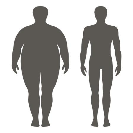 체중 감량 전후의 남자의 벡터 일러스트 레이 션. 남성 바디 실루엣입니다. 성공적인 다이어트 및 스포츠 개념입니다. 날씬하고 뚱뚱한 소년.