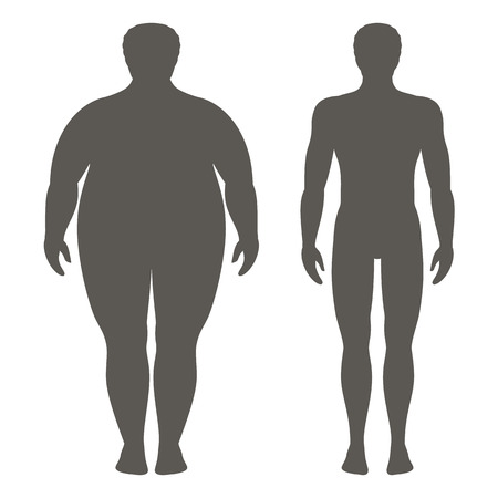 Vector illustration of a man before and after weight loss. Male body silhouette. Successful diet and sport concept. Slim and fat boys. Фото со стока - 85933518