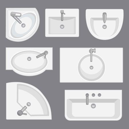 Raccoglie la collezione vista dall'alto. Illustrazione vettoriale in stile piatto. Set di diversi tipi di lavabo.