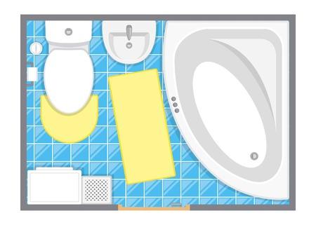 Illustrazione vettoriale di top view dell'interno della stanza da bagno. Piano piano del bagno. Design piatto. Archivio Fotografico - 85933533