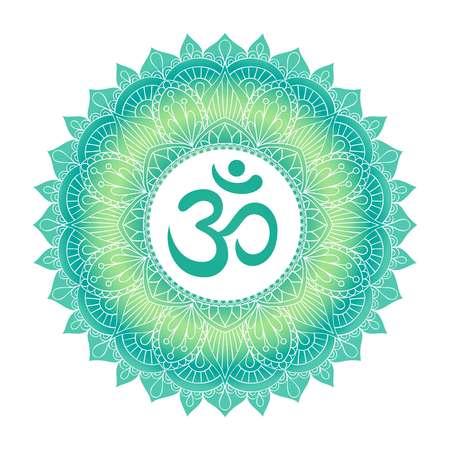 Aum Om Ohm symbol in decorative round mandala ornament. Vectores