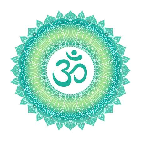Aum Om Ohm symbol in decorative round mandala ornament. Illustration