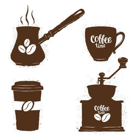 Weinlesekaffeegegenstände eingestellt. Silhouetten von Kaffeetassen, Schleifer, Topf mit Bohnen-Logo und Schriftzug. Kaffeezeitansammlung.