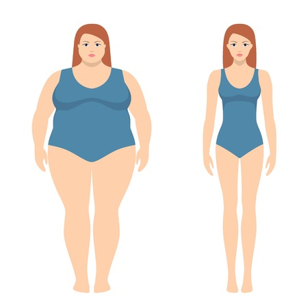 Vector illustration of fat and slim woman in flat style. Weight loss concept, before and after. Obese and normal female body. Stock Vector - 87662586