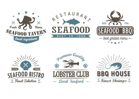 Set of vintage seafood, barbecue, grill logo templates, badges and design elements. Logotypes collection for seafood shop, cafe, restaurant. Vector illustration. Hipster and retro style. Vectores