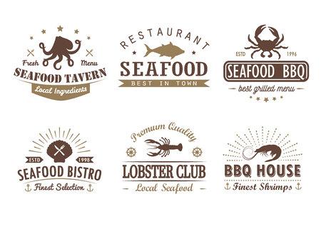 Conjunto de mariscos vintage, barbacoa, plantillas de logotipo de parrilla, insignias y elementos de diseño. Foto de archivo - 87798772