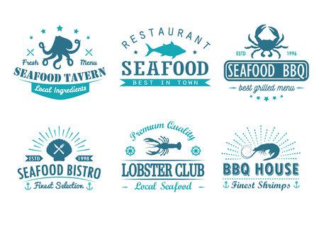 Set of vintage seafood design