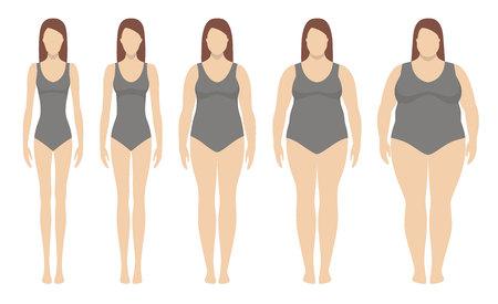 Illustration vectorielle de l'indice de masse corporelle de l'insuffisance pondérale à l'extrême obésité.