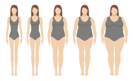 Body mass index vector illustration from underweight to extremely obese. Vettoriali