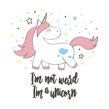 Magic cute unicorn in cartoon style. Doodle unicorn for cards, posters, t-shirt prints, textile design Illustration