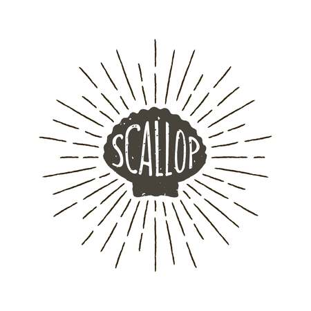 Monochrome hand drawn vintage label, retro badge with textured silhouette of scallop.