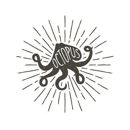 Monochrome hand drawn vintage label, retro badge with textured silhouette of octopus.